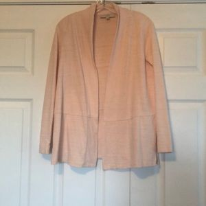 LOFT lightweight open front cardigan in pale pink
